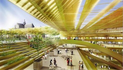 """Image de synthËse de la """"CanopÈe""""', le projet architectural du jardin des Halles ‡ Paris des architectes Patrick Berger et Jacques Anz"""