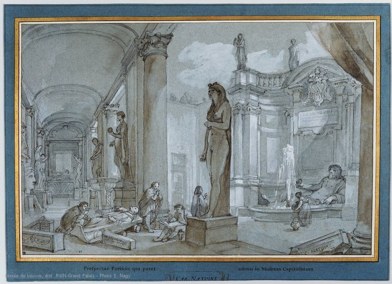 louvre-artistes-dessinant-dans-la-cour-interieure-du-musee-du-capitole-rome